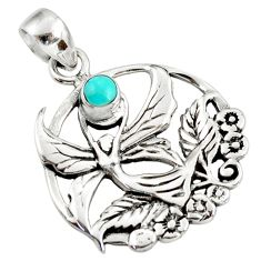 0.55cts blue arizona mohave turquoise 925 silver guardian angel pendant d39452
