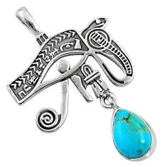 2.78cts blue arizona mohave turquoise 925 silver horse eye pendant r67566