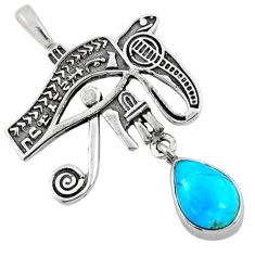 2.33cts blue arizona mohave turquoise 925 silver horse eye pendant r67579