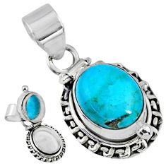5.21cts blue arizona mohave turquoise 925 silver poison box pendant r55641