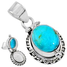 5.41cts blue arizona mohave turquoise 925 silver poison box pendant r55644