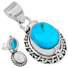 5.20cts blue arizona mohave turquoise 925 silver poison box pendant r55645