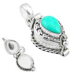 2.44cts blue arizona mohave turquoise 925 silver poison box pendant t52658