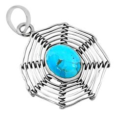 5.28cts blue arizona mohave turquoise 925 silver spider web pendant r67542