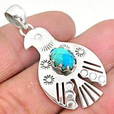 2.12cts blue arizona mohave turquoise 925 sterling silver bird pendant t6401