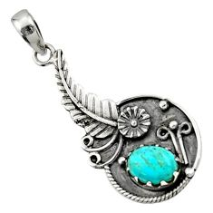 2.76cts blue arizona mohave turquoise 925 sterling silver flower pendant d44873
