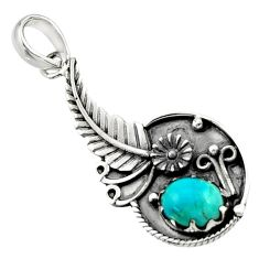 2.88cts blue arizona mohave turquoise 925 sterling silver flower pendant d44879