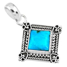 3.29cts blue arizona mohave turquoise 925 sterling silver pendant jewelry r57650