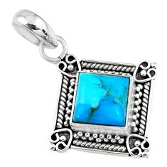 3.51cts blue arizona mohave turquoise 925 sterling silver pendant jewelry r57651