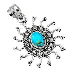 2.12cts blue arizona mohave turquoise 925 sterling silver pendant jewelry r57766