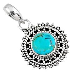 3.01cts blue arizona mohave turquoise 925 sterling silver pendant jewelry r58087