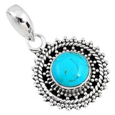 2.99cts blue arizona mohave turquoise 925 sterling silver pendant jewelry r58088