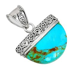 13.09cts blue arizona mohave turquoise 925 sterling silver pendant r85028