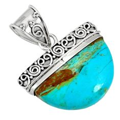 13.55cts blue arizona mohave turquoise 925 sterling silver pendant r85032