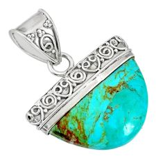 12.12cts blue arizona mohave turquoise 925 sterling silver pendant r85033