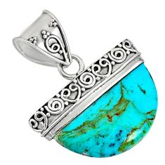 12.17cts blue arizona mohave turquoise 925 sterling silver pendant r85035