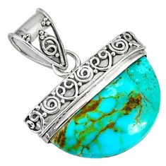 11.71cts blue arizona mohave turquoise 925 sterling silver pendant r85038