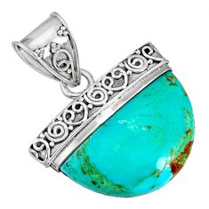 12.60cts blue arizona mohave turquoise 925 sterling silver pendant r85039