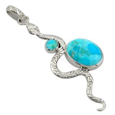 10.81cts blue arizona mohave turquoise 925 sterling silver snake pendant d47272