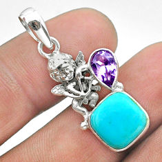 6.78cts blue arizona mohave turquoise amethyst 925 silver angel pendant t51265