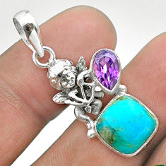6.83cts blue arizona mohave turquoise amethyst 925 silver angel pendant t51268