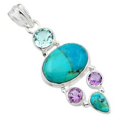 14.17cts blue arizona mohave turquoise amethyst 925 silver pendant r44081