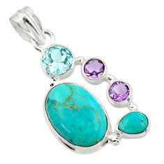 14.42cts blue arizona mohave turquoise amethyst 925 silver pendant r44099