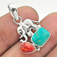 5.47cts blue arizona mohave turquoise coral 925 silver elephant pendant t51327