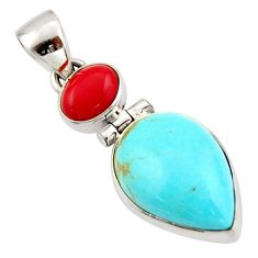 12.22cts blue arizona mohave turquoise coral 925 sterling silver pendant d47412