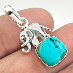 5.22cts blue arizona mohave turquoise cushion 925 silver elephant pendant t51323
