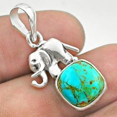 5.54cts blue arizona mohave turquoise cushion 925 silver elephant pendant t51330
