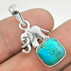 4.88cts blue arizona mohave turquoise cushion 925 silver elephant pendant t51331