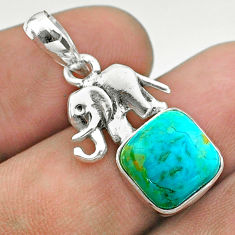 5.52cts blue arizona mohave turquoise cushion 925 silver elephant pendant t51332