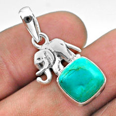 5.50cts blue arizona mohave turquoise cushion 925 silver elephant pendant t51338