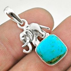 5.12cts blue arizona mohave turquoise cushion 925 silver elephant pendant t51339