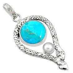 12.31cts blue arizona mohave turquoise pearl 925 silver snake pendant t10692
