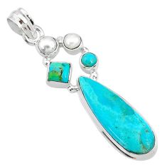 15.16cts blue arizona mohave turquoise pearl 925 sterling silver pendant t10694