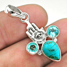 6.03cts blue arizona mohave turquoise silver hand of god hamsa pendant t51328