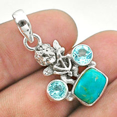 5.14cts blue arizona mohave turquoise topaz 925 silver angel pendant t51270
