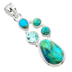 14.28cts blue arizona mohave turquoise topaz 925 sterling silver pendant r44082