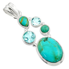 14.44cts blue arizona mohave turquoise topaz 925 sterling silver pendant r44088