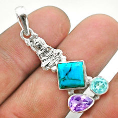 Blue arizona mohave turquoise topaz amethyst silver buddha charm pendant t51272