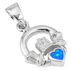 Blue australian fire opal enamel 925 silver heart pendant jewelry c15648