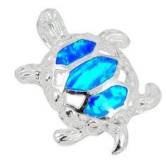 Blue australian fire opal enamel 925 sterling silver turtle pendant c15664