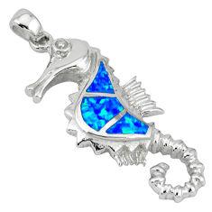 Blue australian opal (lab) 925 silver seahorse pendant jewelry c15640