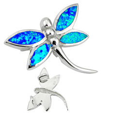 Blue australian opal (lab) 925 sterling silver dragonfly pendant c15705