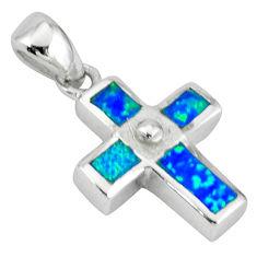 Blue australian opal (lab) 925 sterling silver holy cross pendant c15644