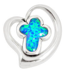 4.38cts blue australian opal (lab) 925 sterling silver holy cross pendant c24294