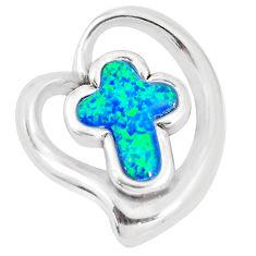 5.83cts blue australian opal (lab) 925 sterling silver holy cross pendant c24295