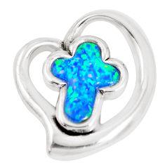 5.63cts blue australian opal (lab) 925 sterling silver holy cross pendant c24298